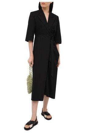 Женские кожаные сандалии MARNI черного цвета, арт. FBMS005201/P3614 | Фото 2