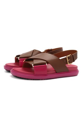 Женские кожаные сандалии fussbett MARNI розового цвета, арт. FBMS011601/P3614 | Фото 1