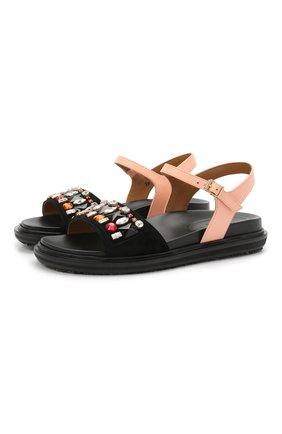Женские кожаные сандалии stones MARNI разноцветного цвета, арт. FBMS011701/P3762 | Фото 1