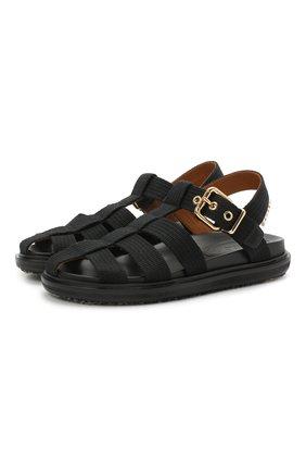 Женские текстильные сандалии MARNI черного цвета, арт. FBMS012101/P3707 | Фото 1