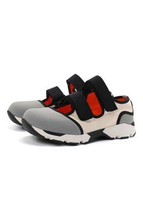 Женские текстильные кроссовки с застежками велькро MARNI серого цвета, арт. SNZWS01G02/TCR86 | Фото 1