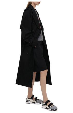 Женские текстильные кроссовки с застежками велькро MARNI серого цвета, арт. SNZWS01G02/TCR86 | Фото 2