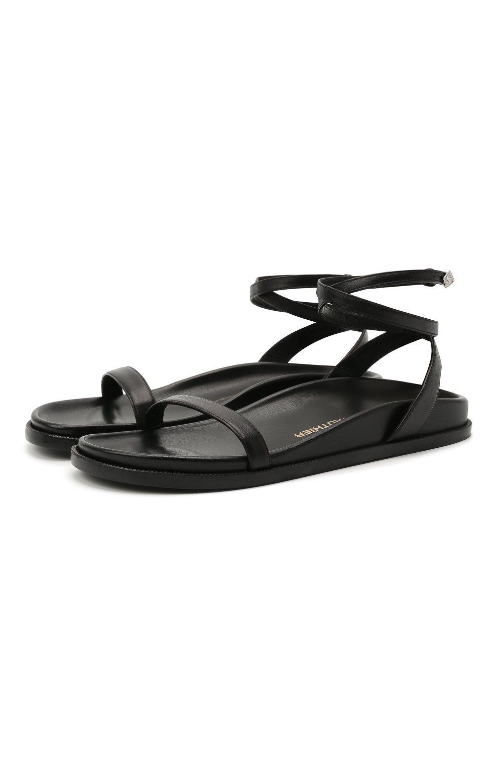 Женские кожаные сандалии ALEXANDRE VAUTHIER черного цвета, арт. A0KIFLTAF0RM | Фото 1