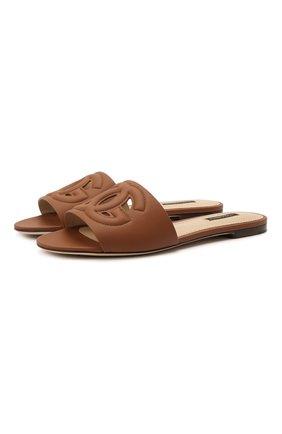 Женские кожаные шлепанцы bianca DOLCE & GABBANA коричневого цвета, арт. CQ0436/A0049 | Фото 1