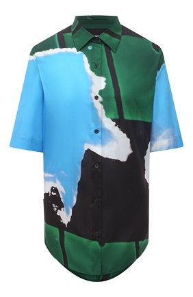 Женская хлопковая рубашка DRIES VAN NOTEN голубого цвета, арт. 211-10781-2063   Фото 1