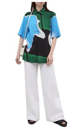 Женская хлопковая рубашка DRIES VAN NOTEN голубого цвета, арт. 211-10781-2063   Фото 2