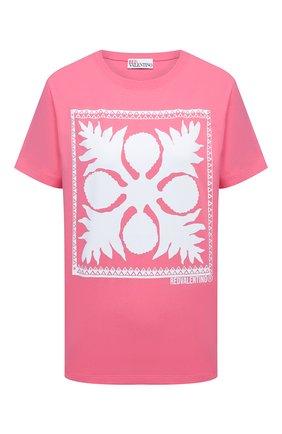 Женская хлопковая футболка REDVALENTINO светло-розового цвета, арт. VR0MG10M/5VW   Фото 1