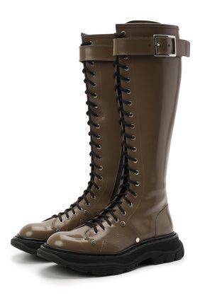 Женские кожаные сапоги ALEXANDER MCQUEEN хаки цвета, арт. 595466/WHZ81 | Фото 1 (Материал внутренний: Натуральная кожа; Подошва: Платформа; Каблук тип: Устойчивый; Высота голенища: Средние; Каблук высота: Низкий)