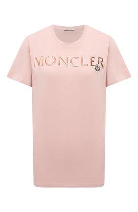 Женская хлопковая футболка MONCLER розового цвета, арт. G1-093-8C715-10-V8094   Фото 1