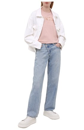 Женская хлопковая футболка MONCLER розового цвета, арт. G1-093-8C715-10-V8094   Фото 2