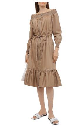 Женское хлопковое платье MONCLER бежевого цвета, арт. G1-093-2G710-10-54012   Фото 2