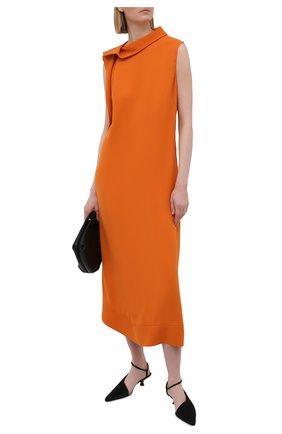 Женское шелковое платье VALENTINO оранжевого цвета, арт. VB0VAVE16B0   Фото 2