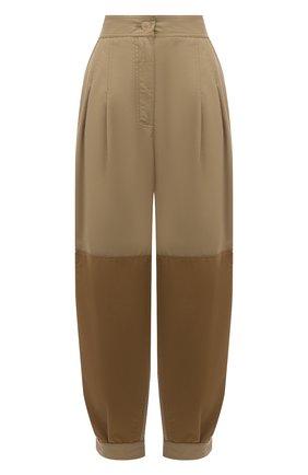 Женские хлопковые брюки LOEWE бежевого цвета, арт. S540Y04X33 | Фото 1 (Длина (брюки, джинсы): Стандартные; Стили: Кэжуэл; Материал внешний: Хлопок; Женское Кросс-КТ: Брюки-одежда; Силуэт Ж (брюки и джинсы): Широкие)