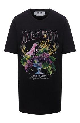 Женская хлопковая футболка MSGM черного цвета, арт. 3042MDM198 217498 | Фото 1
