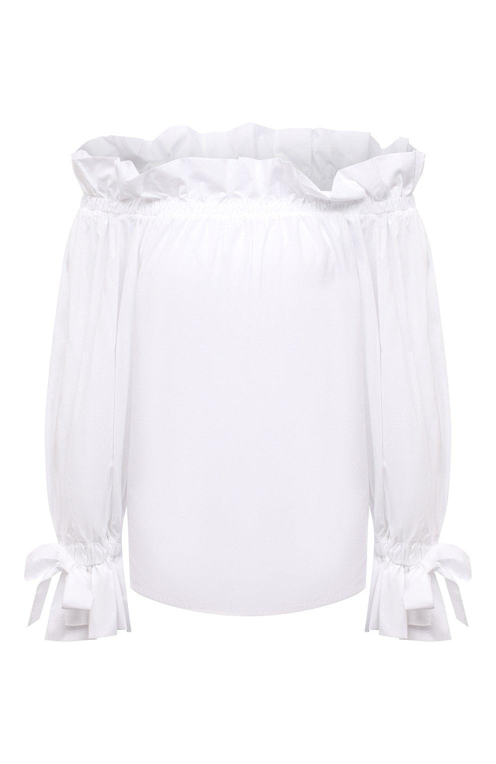 Женский хлопковый топ SARA ROKA белого цвета, арт. ISIDE/02-S21 | Фото 1 (Длина (для топов): Стандартные; Материал внешний: Хлопок; Стили: Спорт-шик; Рукава: 3/4; Кросс-КТ: с рукавом)