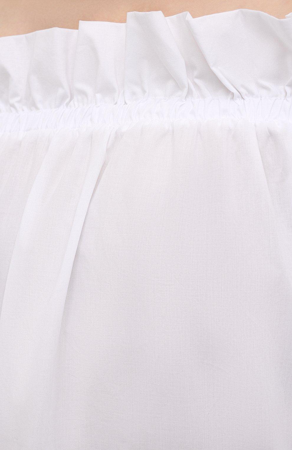 Женский хлопковый топ SARA ROKA белого цвета, арт. ISIDE/02-S21 | Фото 5 (Длина (для топов): Стандартные; Материал внешний: Хлопок; Стили: Спорт-шик; Рукава: 3/4; Кросс-КТ: с рукавом)