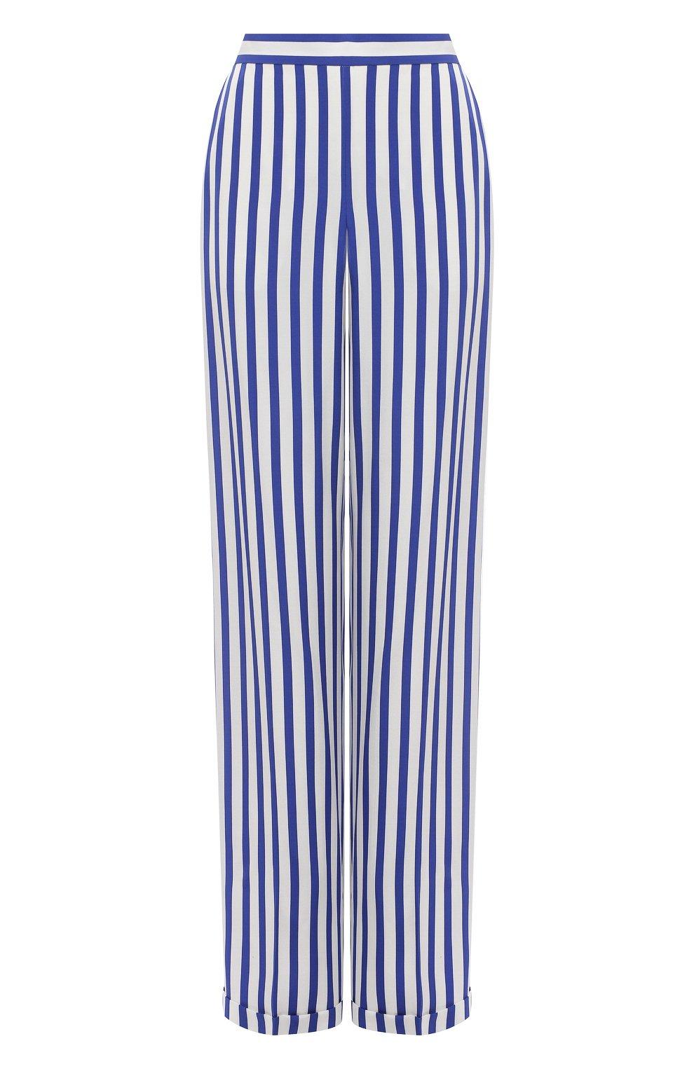 Женские шелковые брюки RALPH LAUREN синего цвета, арт. 290844001   Фото 1
