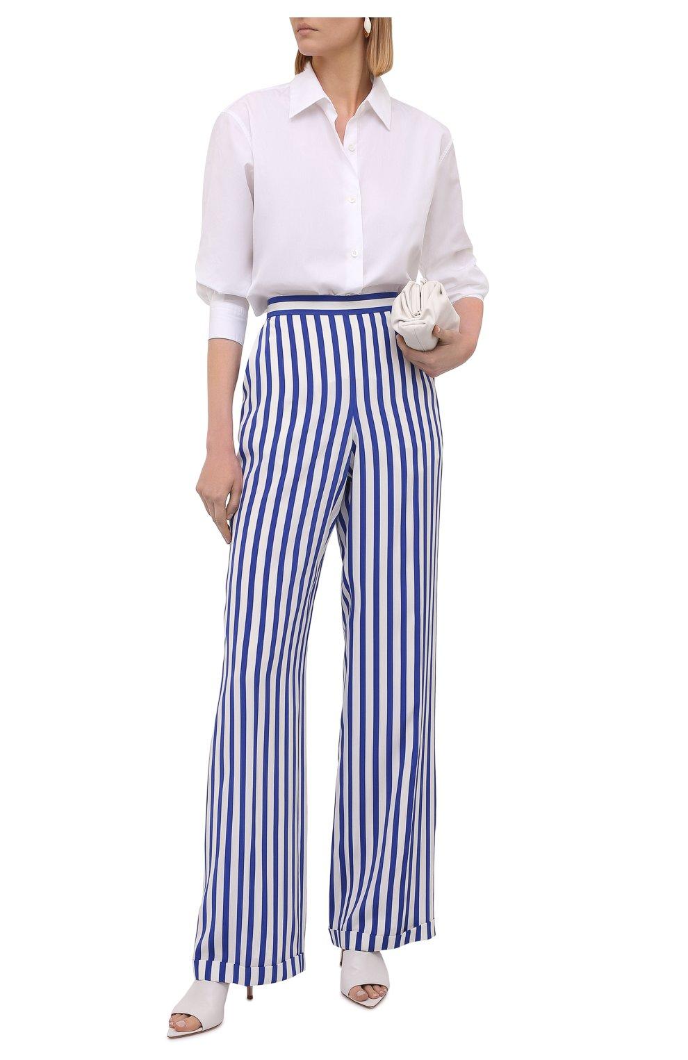 Женские шелковые брюки RALPH LAUREN синего цвета, арт. 290844001   Фото 2