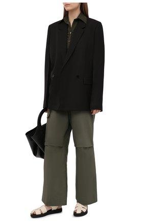 Женские хлопковые брюки JIL SANDER хаки цвета, арт. JPPS310705-WS242600 | Фото 2