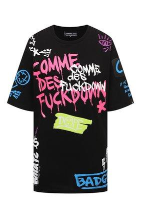 Женская хлопковая футболка COMME DES FUCKDOWN черно-белого цвета, арт. CDFD1368 | Фото 1