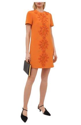 Женское платье из шерсти и шелка VALENTINO оранжевого цвета, арт. VB0VAVH46BS | Фото 2