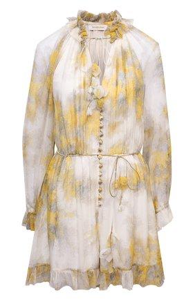 Женский шелковый комбинезон ZIMMERMANN желтого цвета, арт. 1231YB0T | Фото 1