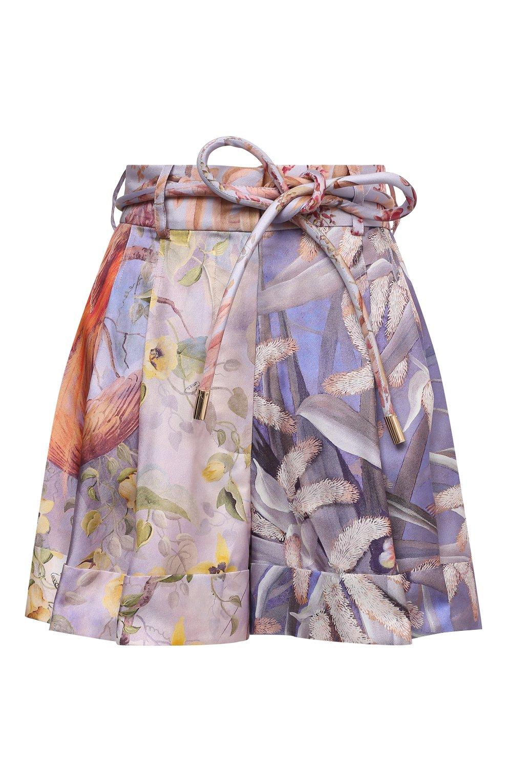 Женские шелковые шорты ZIMMERMANN разноцветного цвета, арт. 1234AB0T   Фото 1