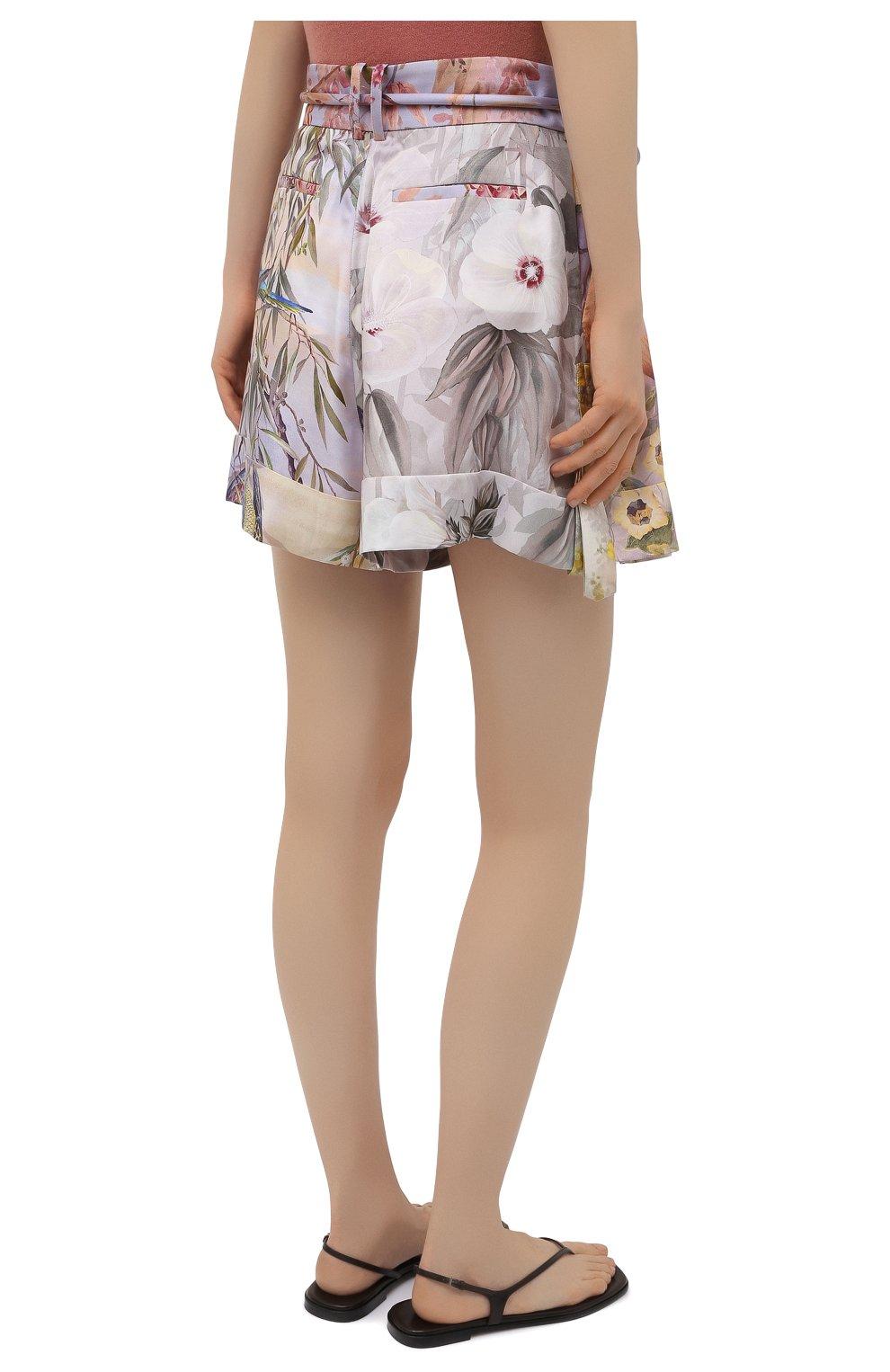 Женские шелковые шорты ZIMMERMANN разноцветного цвета, арт. 1234AB0T   Фото 4