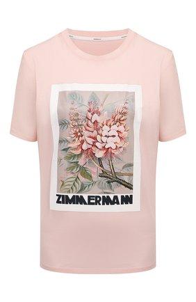 Женская хлопковая футболка ZIMMERMANN розового цвета, арт. 1259TB0T   Фото 1