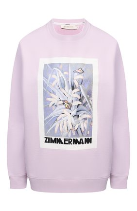 Женский хлопковый свитшот ZIMMERMANN фиолетового цвета, арт. 1261TB0T | Фото 1