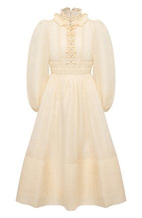 Женское платье изо льна и шелка ZIMMERMANN кремвого цвета, арт. 1364DB0T | Фото 1