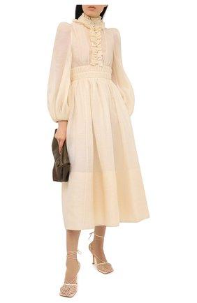 Женское платье изо льна и шелка ZIMMERMANN кремвого цвета, арт. 1364DB0T | Фото 2