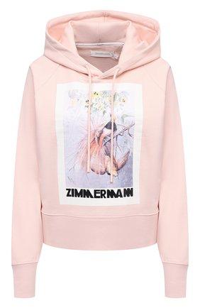Женский хлопковое худи ZIMMERMANN розового цвета, арт. 8231TB0T | Фото 1