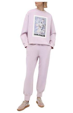 Женские хлопковые джоггеры ZIMMERMANN фиолетового цвета, арт. 8232PB0T | Фото 2
