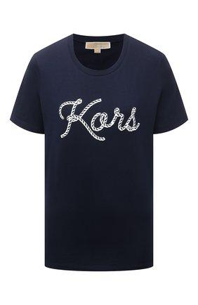 Женская хлопковая футболка MICHAEL MICHAEL KORS темно-синего цвета, арт. MS1501197J | Фото 1
