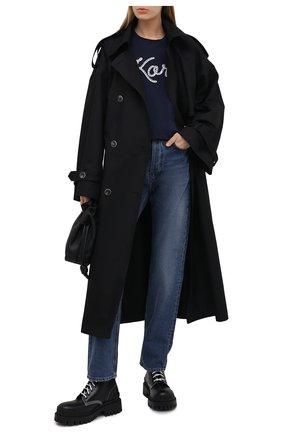 Женская хлопковая футболка MICHAEL MICHAEL KORS темно-синего цвета, арт. MS1501197J | Фото 2