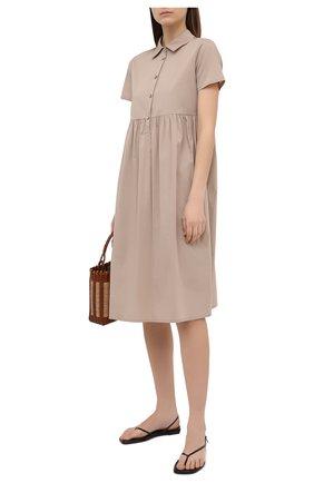 Женское хлопковое платье PIETRO BRUNELLI бежевого цвета, арт. AG0435/LG/C0P319 | Фото 2