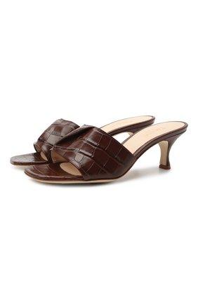 Женские кожаные мюли fold ELLEME коричневого цвета, арт. F0LD HEEL/CR0C0 PRINT LEATHER | Фото 1