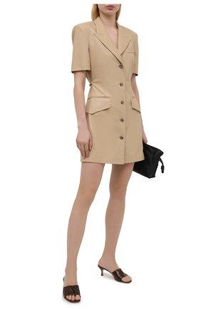 Женские кожаные мюли fold ELLEME коричневого цвета, арт. F0LD HEEL/CR0C0 PRINT LEATHER | Фото 2