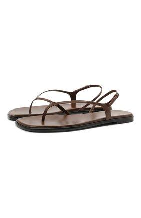 Женские кожаные сандалии THE ROW коричневого цвета, арт. F1197-L35 | Фото 1 (Каблук высота: Низкий; Материал внутренний: Натуральная кожа; Подошва: Плоская)