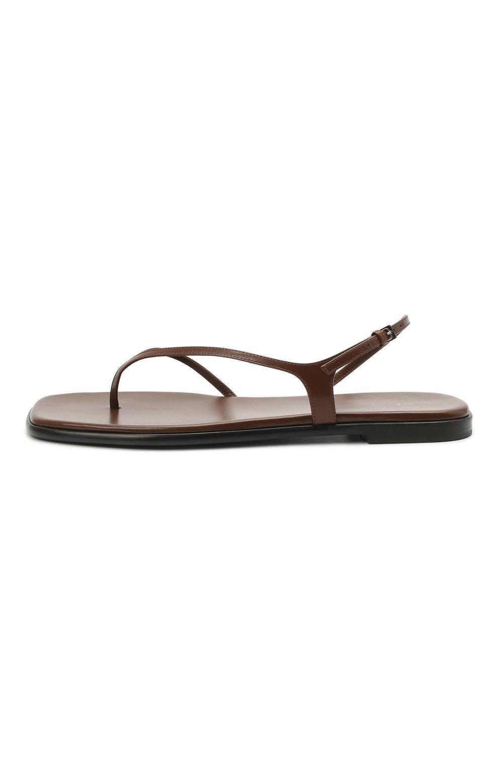 Женские кожаные сандалии THE ROW коричневого цвета, арт. F1197-L35 | Фото 3 (Каблук высота: Низкий; Материал внутренний: Натуральная кожа; Подошва: Плоская)