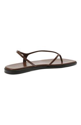 Женские кожаные сандалии THE ROW коричневого цвета, арт. F1197-L35 | Фото 4 (Каблук высота: Низкий; Материал внутренний: Натуральная кожа; Подошва: Плоская)