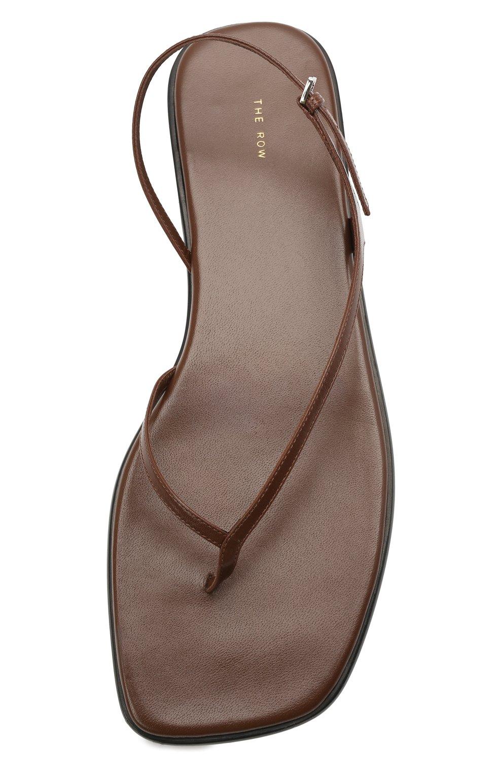 Женские кожаные сандалии THE ROW коричневого цвета, арт. F1197-L35 | Фото 5 (Каблук высота: Низкий; Материал внутренний: Натуральная кожа; Подошва: Плоская)