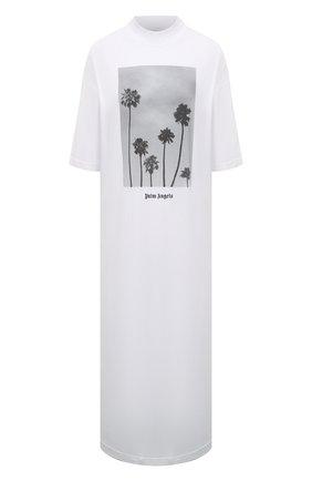 Женское хлопковое платье PALM ANGELS белого цвета, арт. PWDB105S21JER0020110   Фото 1
