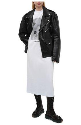 Женское хлопковое платье PALM ANGELS белого цвета, арт. PWDB105S21JER0020110   Фото 2