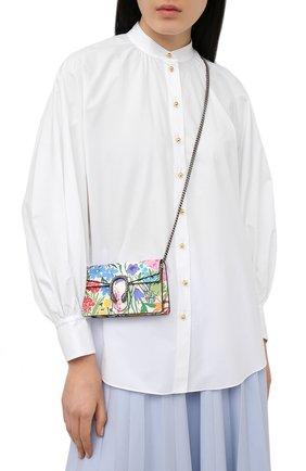 Женская сумка supermini GUCCI разноцветного цвета, арт. 476432/UA90N   Фото 2 (Ремень/цепочка: С цепочкой, На ремешке; Размер: mini; Сумки-технические: Сумки через плечо; Материал: Натуральная кожа)
