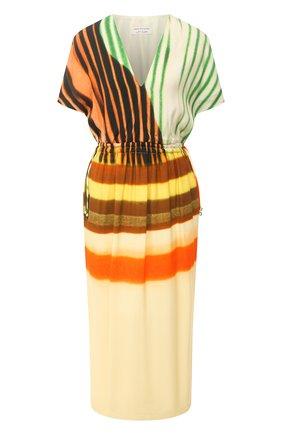 Женское платье из вискозы и хлопка DRIES VAN NOTEN желтого цвета, арт. 211-11088-2048   Фото 1