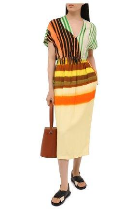 Женское платье из вискозы и хлопка DRIES VAN NOTEN желтого цвета, арт. 211-11088-2048   Фото 2