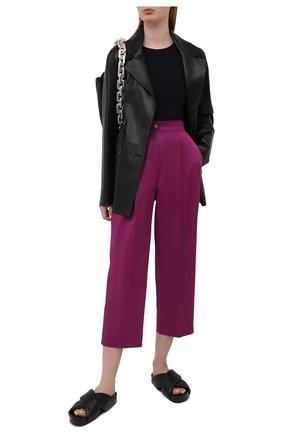 Женские хлопковые брюки DOLCE & GABBANA сиреневого цвета, арт. FTB3NT/FUFJR | Фото 2
