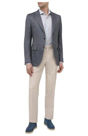 Мужская рубашка BOSS голубого цвета, арт. 50451328 | Фото 2 (Материал внешний: Хлопок, Лиоцелл; Длина (для топов): Стандартные; Рукава: Длинные; Принт: Полоска; Случай: Повседневный; Манжеты: На пуговицах; Воротник: Акула; Рубашки М: Slim Fit; Стили: Классический)